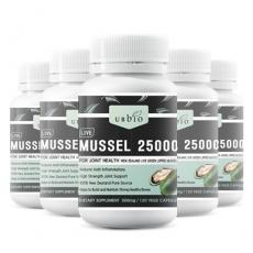 [유비바이오] 뉴질랜드 초록입홍합 25000mg(고함량) 120캡슐 6개