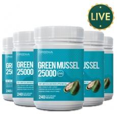 [그리니아] 그린머슬 25000 240캡슐 (100% 뉴질랜드 라이브 초록입홍합) 6개