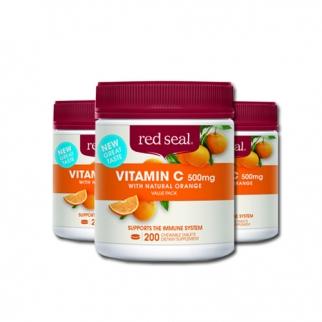 [레드실] 씹어먹는 비타민C(오렌지맛) 500mg 200정 3개