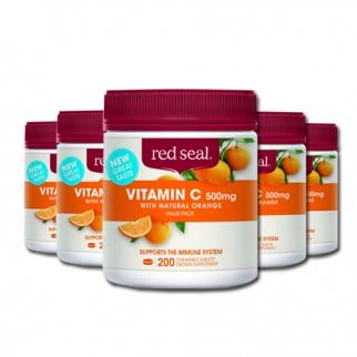 [레드실] 씹어먹는 비타민C(오렌지맛) 500mg 200정 6개