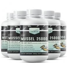 [유비바이오] 생 초록입홍합25000mg 360캡슐(고함량) 6개 무릎관절에좋은영양제
